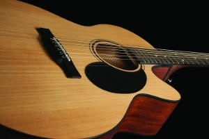 Close up of body on Jasmine S34C NEX Acoustic Guitar