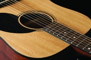 Close up of sound hole on Jasmine S35 guitar