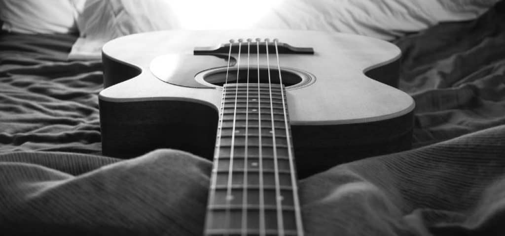 High End Acoustic Guitar in Black and White