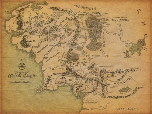 Map of Middle Earth from LOTR
