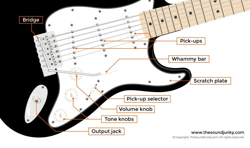 guitar anatomy 101 parts of a guitar strings labeled fret numbering. Black Bedroom Furniture Sets. Home Design Ideas