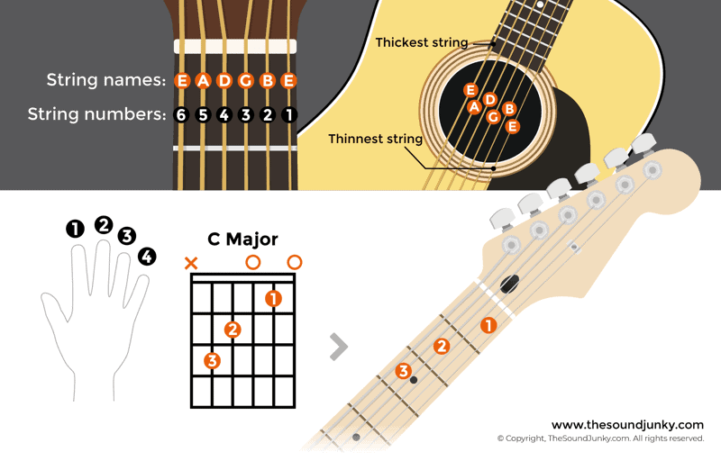 guitar anatomy 101 parts of a guitar strings labeled fret numbering. Black Bedroom Furniture Sets. Home Design Ideas