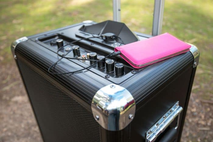A Portable PA System Connected to iPhone