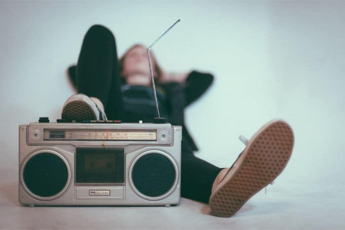 Listening to Music on Boombox