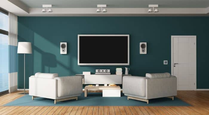Living Room With Wall Mounted Bookshelf Speakers