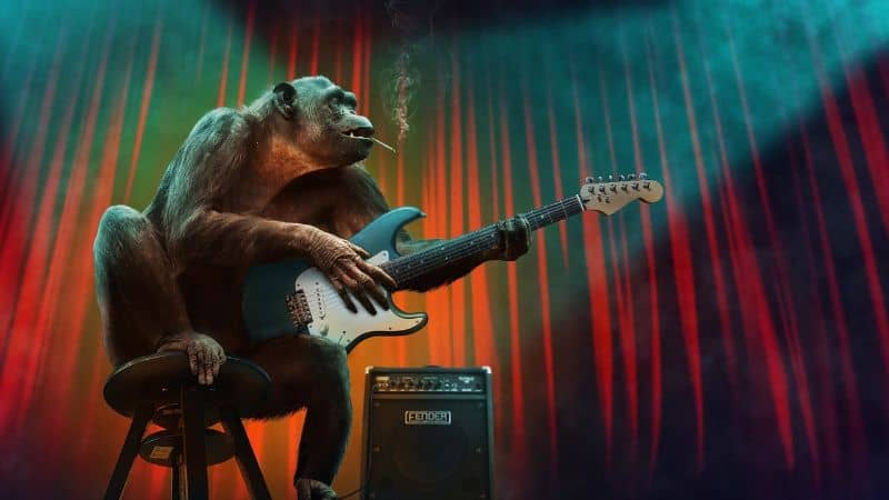 Gorilla Playing Blues Guitar And Smoking a Cigarette