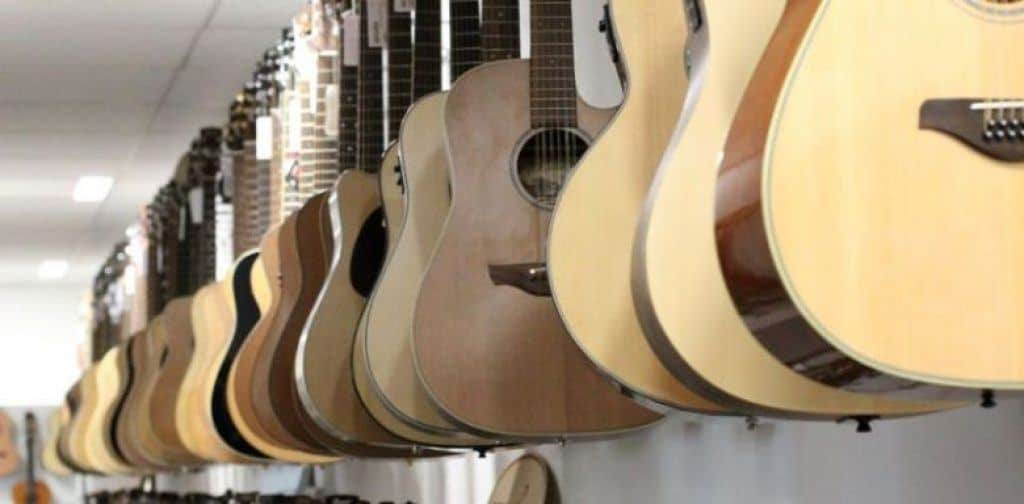 Different Sized Guitars on Display