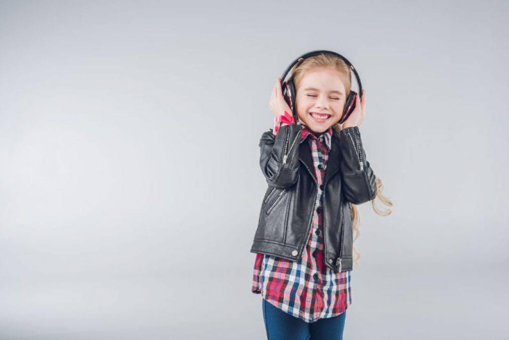 Girl wearing a great set of kids headphones