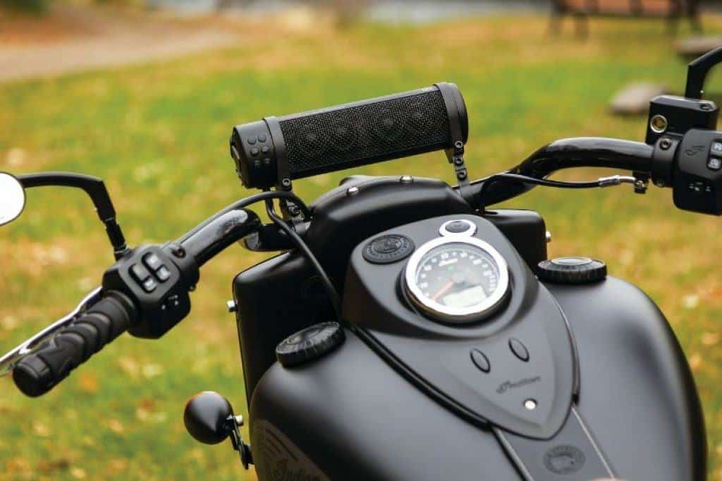 speaker mounted on motorcycle