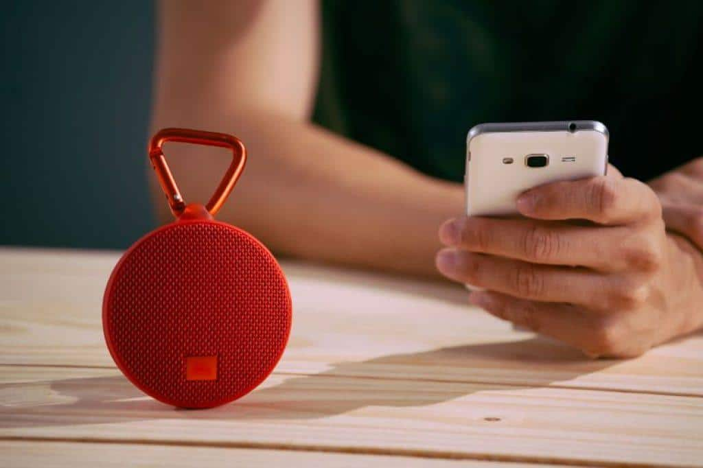 red small bluetooth speaker