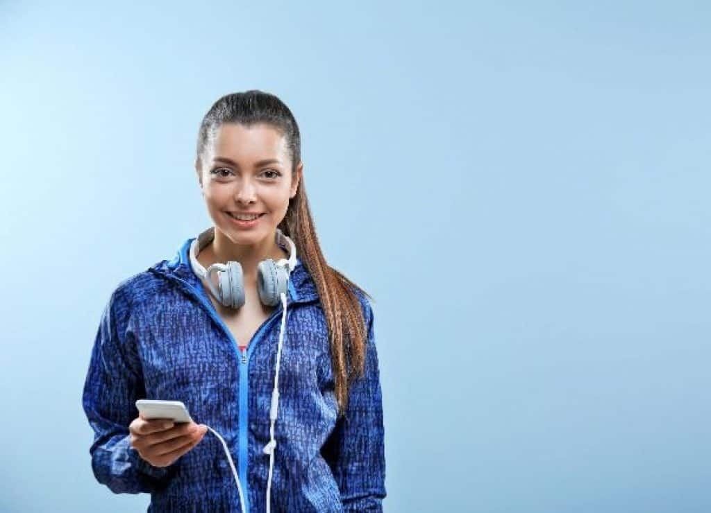 woman wearing wired headphones