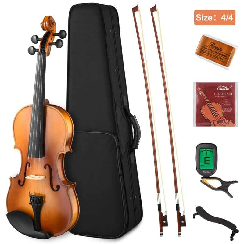 Eastar EVA-330 44 Solid Wood Violin Set Full Size for Students Adults with Hard Case, Shoulder Rest, Rosin, Two Bow, Clip-on Tuner Extra Strings