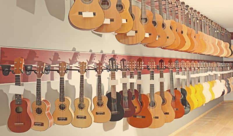 A Range of Ukulele and Guitars on Display