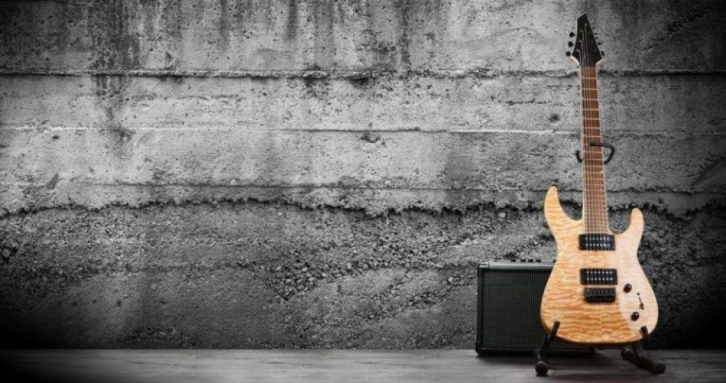 A Seven String Guitar and Amplifier
