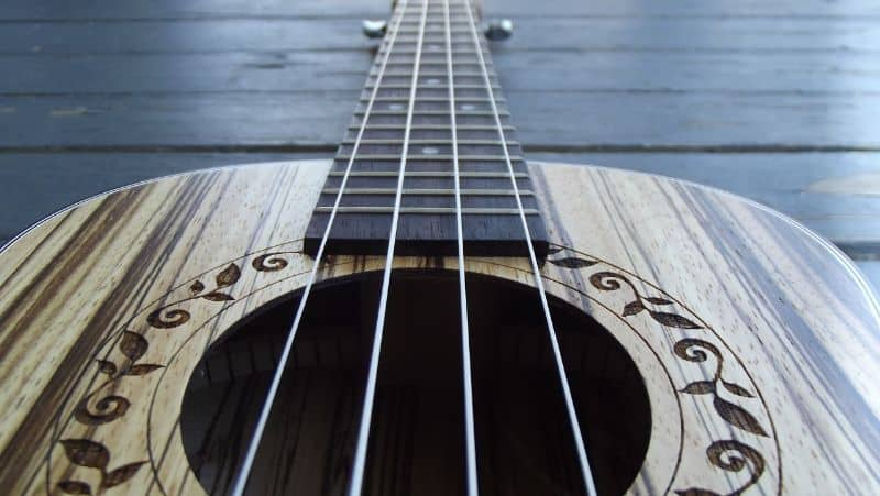 Close up of the sound hole on a soprano ukulele