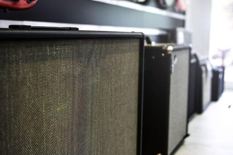Different Guitar Amplifiers on Display
