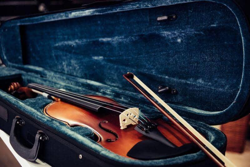 High End Violin Sitting in a Case
