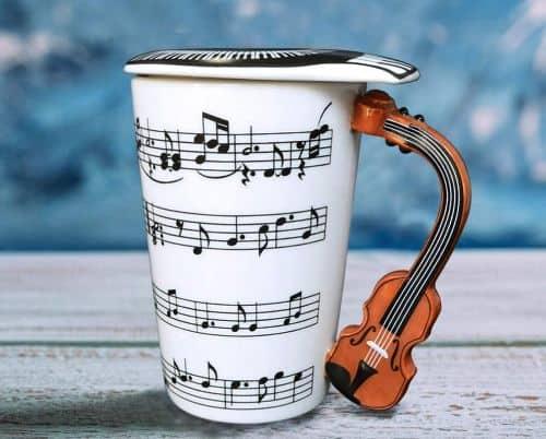 Ceramic Violin Mug With Lid