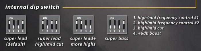 Internal dip switch settings on teh Xotic SL drive