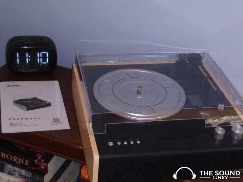 Victrola The Eastwood record player on table